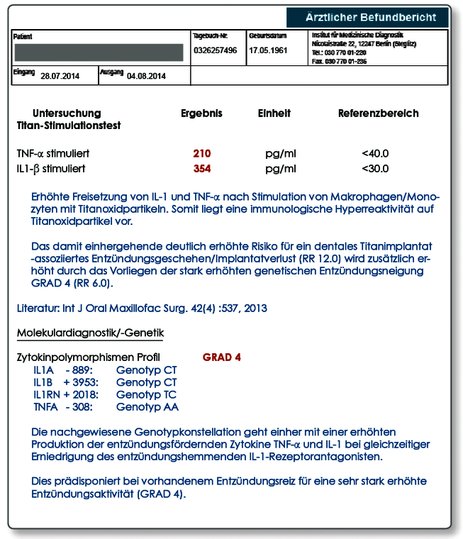 Titan_Musterbefund Quelle: Dr. Volker von Baehr, Institut IMD Berlin